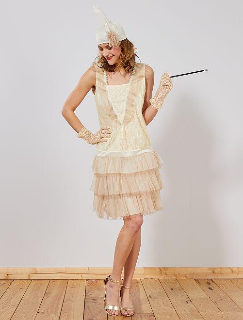 Disfraz de charlestón                             beige Mujer