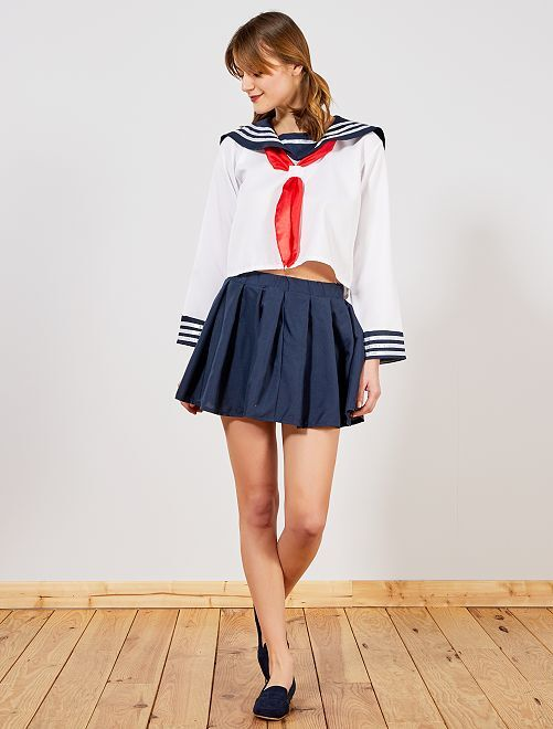 Disfraz de colegiala                             blanco/azul