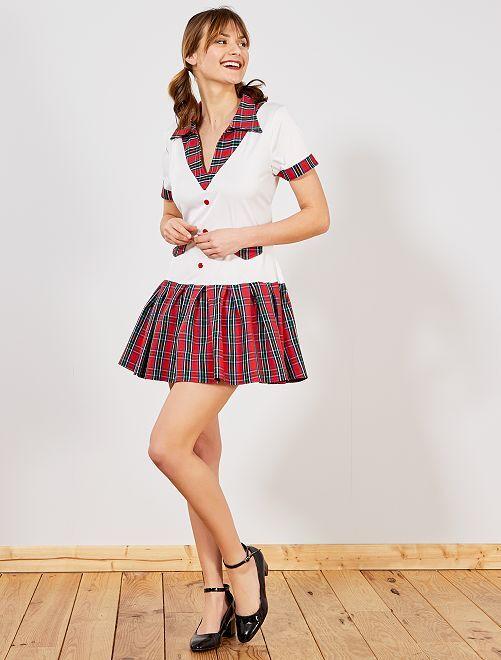 Disfraz de colegiala                             blanco/rojo