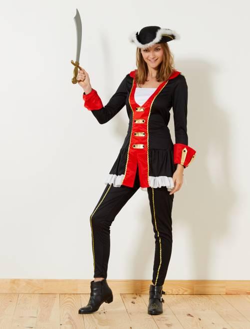 Disfraz de corsaria                             negro/rojo