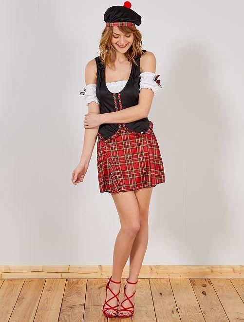 Disfraz de escocés                             negro/rojo