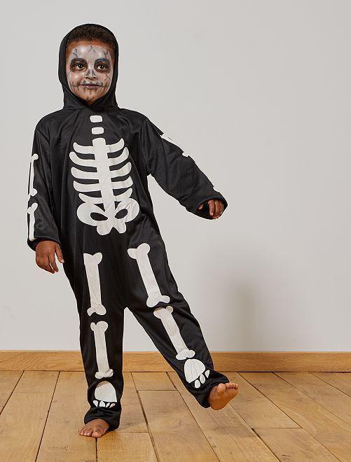 Disfraz de esqueleto fosforescente                             negro/blanco