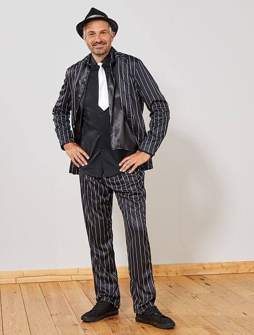 Disfraz de gánster                             negro/blanco