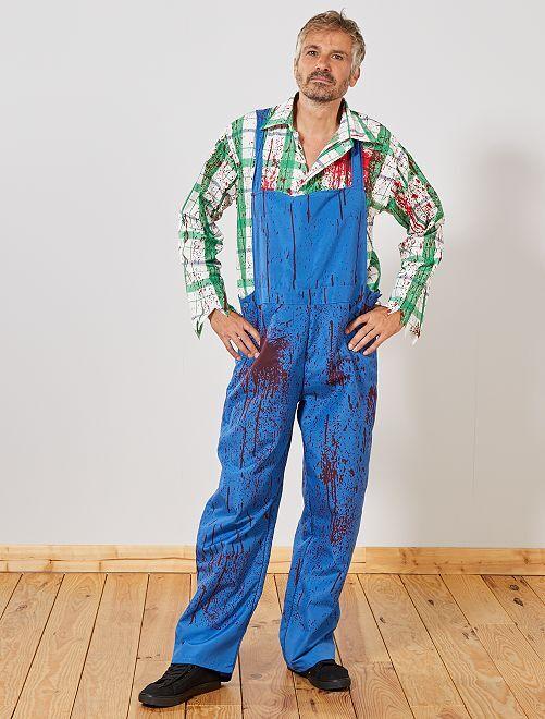 Disfraz de granjero zombi                             azul