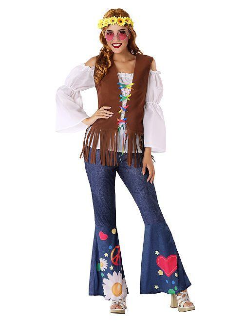 Disfraz de hippie                             azul/marrón