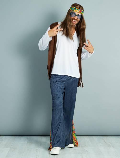 Disfraz de hippie                             blanc/bleu/marron
