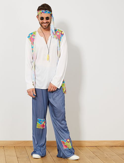 Disfraz de hippie para hombre                             rosa Hombre