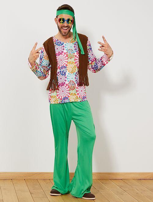 Disfraz de hippy para hombre                             multicolor