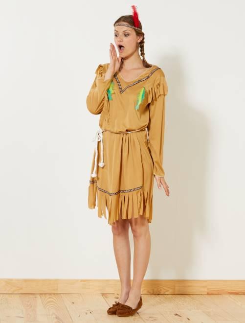 Disfraz de india                             marrón Mujer