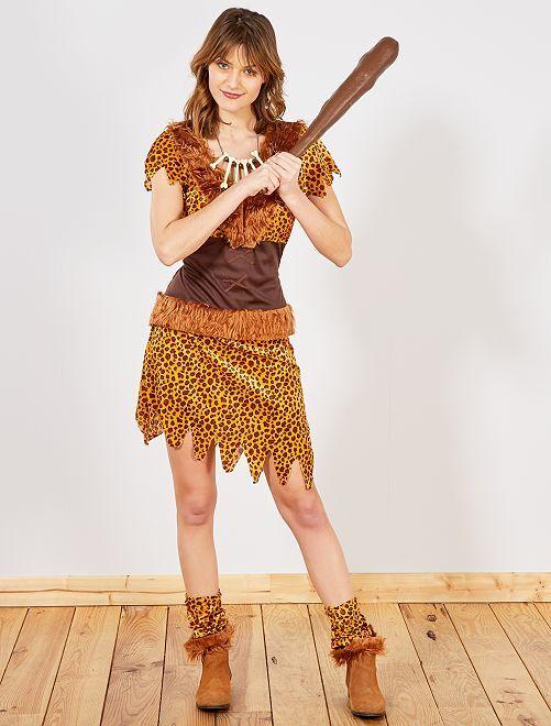 Disfraz de mujer de las cavernas                             marrón Mujer