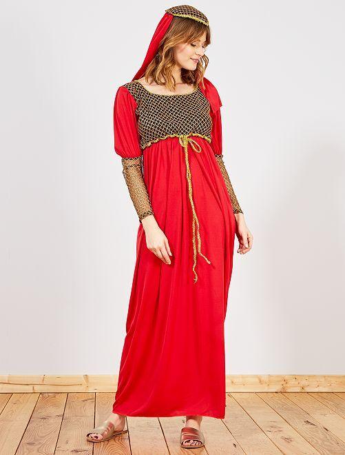 Disfraz de mujer medieval                             rojo/oro