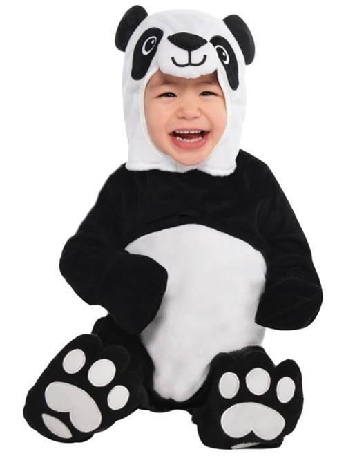 Disfraz de oso panda                             negro/blanco