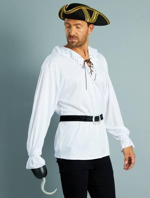Disfraz de pirata con camisa + cinturón                             blanco Hombre