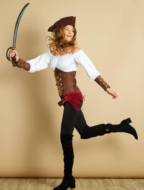 Disfraz de pirata                             marron Mujer