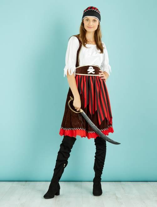 Disfraz de pirata                             negro/rojo