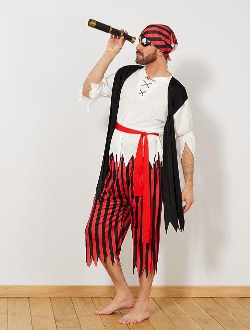 Disfraz de pirata                             negro/rojo Hombre