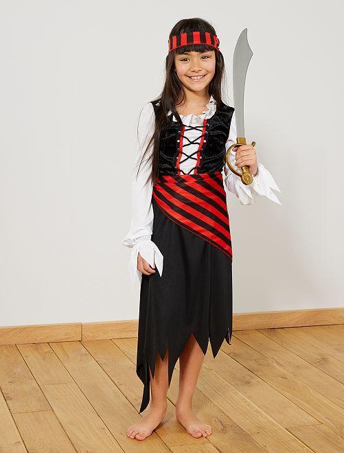 Disfraz de pirata                             negro/rojo Niños
