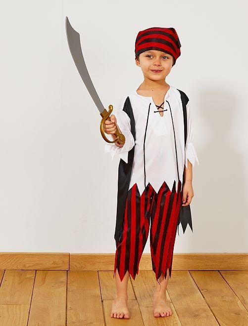 Disfraz de pirata                             negro/rojo/blanco