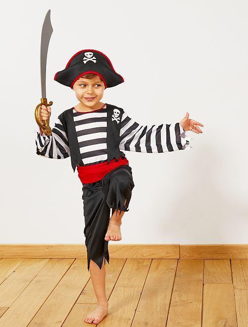 Disfraz de pirata                             noir/rouge Niños
