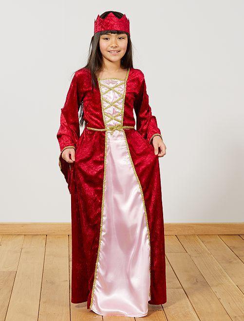 Disfraz de princesa medieval                             rojo