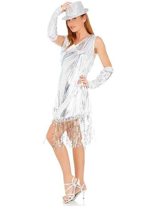 Disfraz de reina disco                             plata Mujer