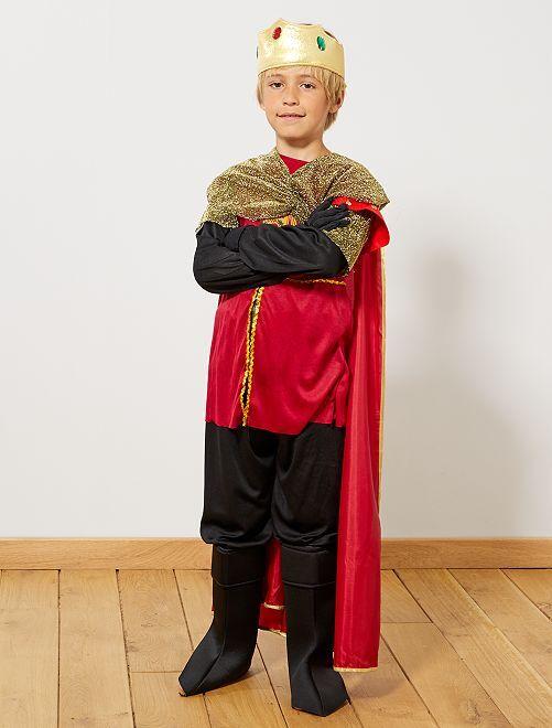 Disfraz de rey medieval                             negro/rojo