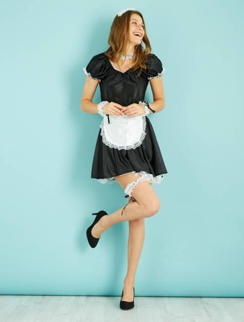 Disfraz de sirvienta                             negro/blanco