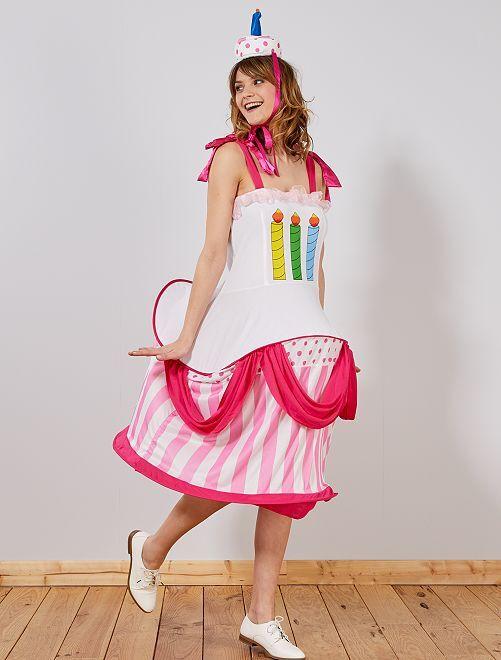 Disfraz de tarta de cumpleaños                             rosa/blanco