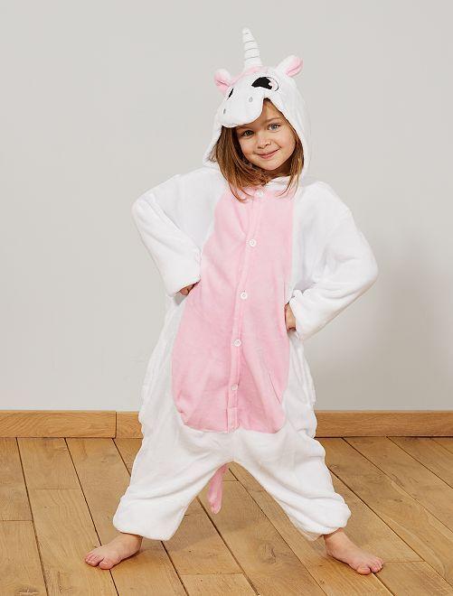 Disfraz de unicornio                             blanco/rosa Niños