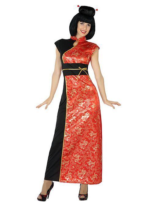 Disfraz de vestido chino                             rojo/negro