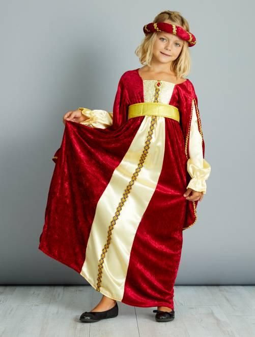 Disfraz de vestido medieval                             rojo Niños