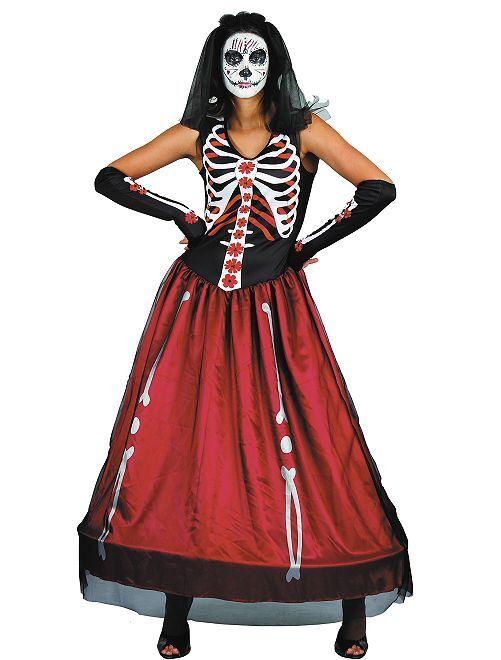 Disfraz 'Día de los Muertos'                             negro/rojo