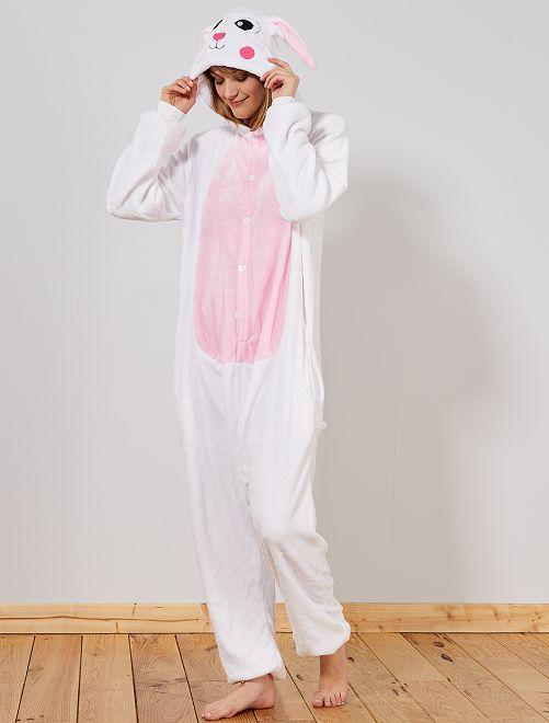 Disfraz tipo mono 'conejo'                             blanco/rosa