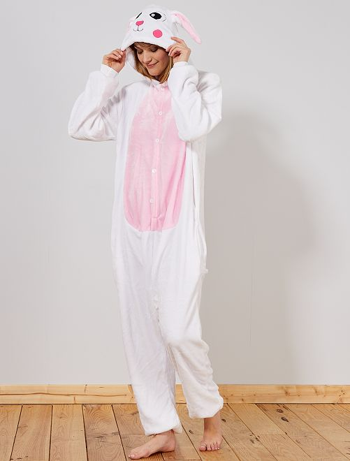 Disfraz tipo mono 'conejo'                             blanco/rosa Mujer