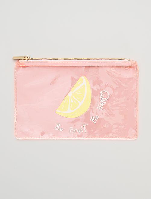 Estuche de vinilo transparente 'limón'                                                     ROSA