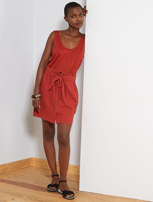 Falda abotonada de gasa de algodón                                         rojo ocre