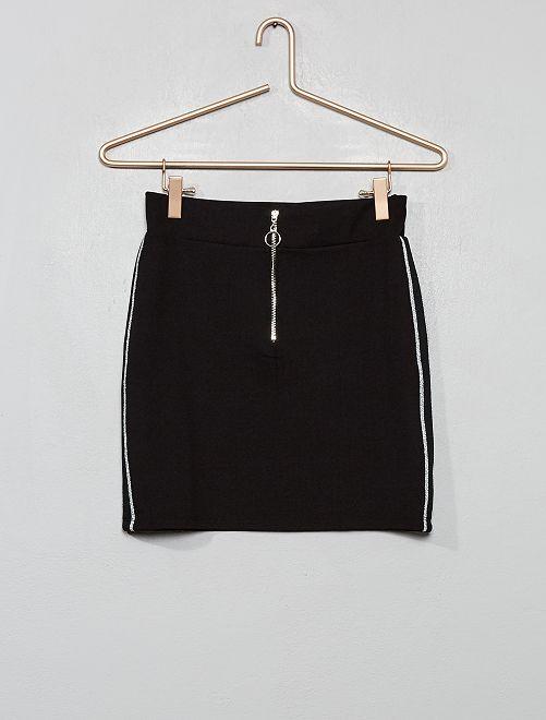 Falda con bandas brillantes                             negro