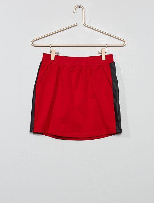 Falda con bandas laterales sintéticas                                                                 burdeos