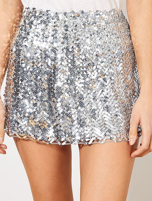 Falda con lentejuelas                                                                             plata