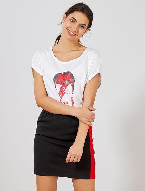 Falda corta con bandas a contraste                             negro Mujer talla 34 a 48