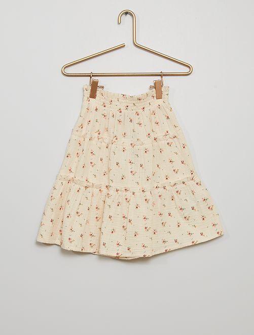 Falda corta de gasa de algodón                                                                             BEIGE