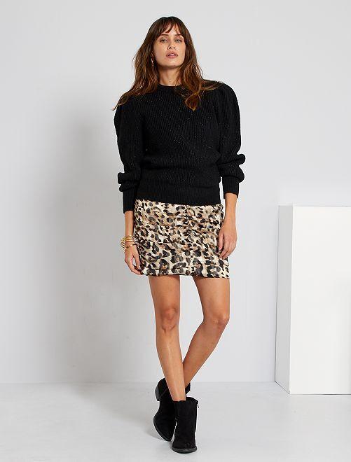 Falda corta de leopardo                             BEIGE