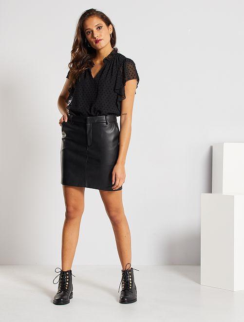 Falda corta de material sintético                                                     negro