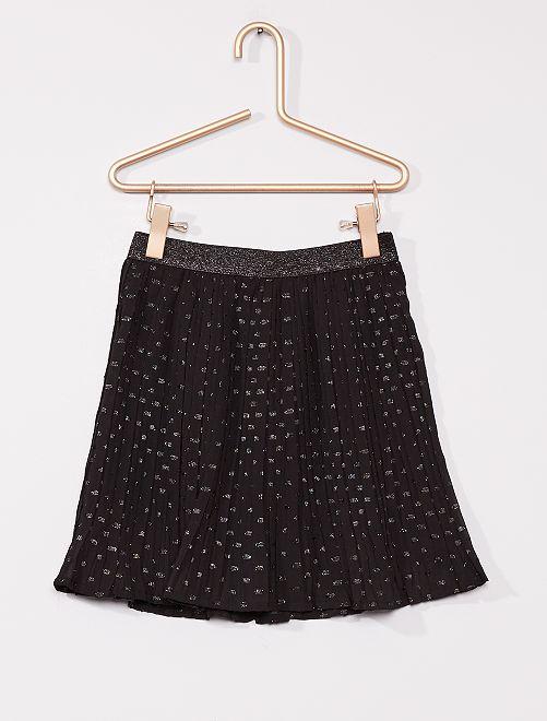 Falda corta de tul con detalles brillantes                                         negro