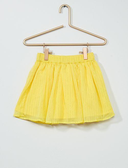 Falda corta de tul con hilos dorados                             AMARILLO