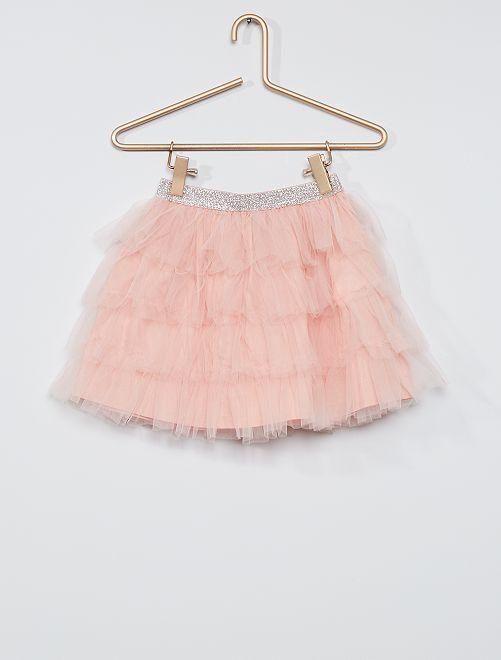 Falda corta de tul                     rosa
