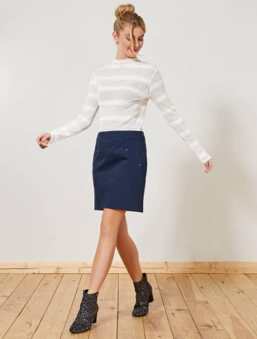 Falda corta estilo sastre                                                     AZUL Mujer talla 34 a 48