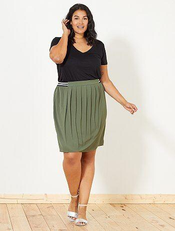 Falda cruzada con cintura elástica brillante - Kiabi