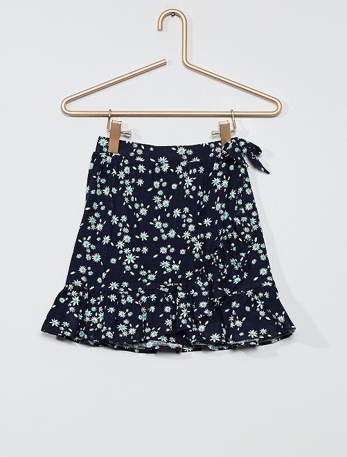 Falda cruzada de flores                                                     AZUL