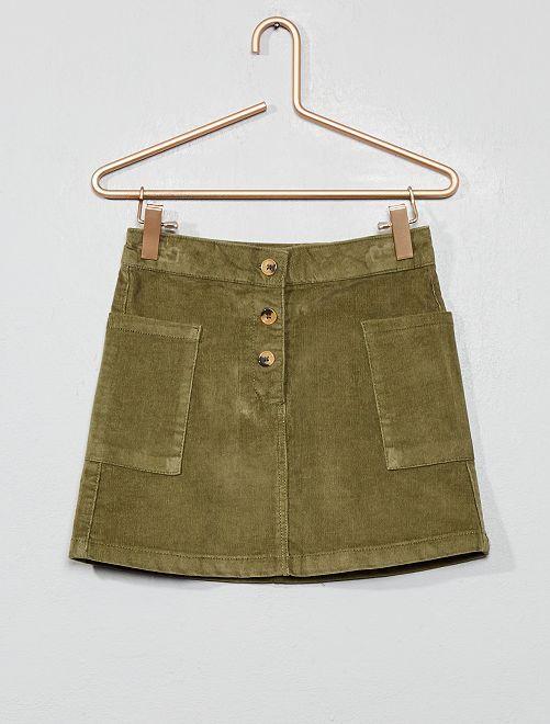 Falda de pana                             verde liquen